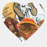 Vintage Animal Collage Heart Sticker