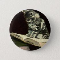 Vintage Animal, Cute Victorian Kitten Reading Book Pinback Button