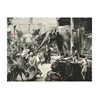 Vintage Animal Elephant Zoo Engraving Children Canvas Print