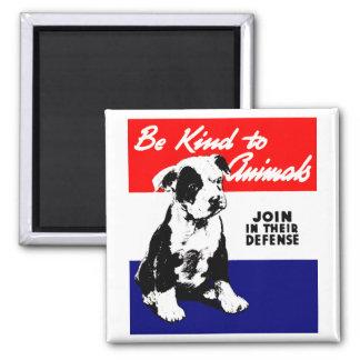Vintage Animal Kindness Poster 2 Inch Square Magnet