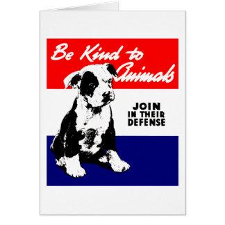 Vintage Animal Kindness Poster Card