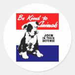 Vintage Animal Kindness Poster Round Sticker