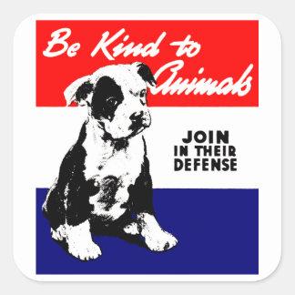 Vintage Animal Kindness Poster Square Sticker