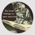 Vintage Animal, Kitten Reading a Book Bookplate
