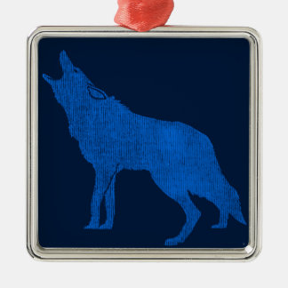 Vintage Animals Blue Howling Coyote Metal Ornament