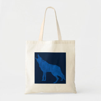 Vintage Animals Blue Howling Coyote Tote Bag
