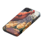 Vintage Animals, Chicken with Baby Chicks on Farm iPhone 4 Case-Mate Case