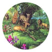 Vintage Animals Classic Round Sticker