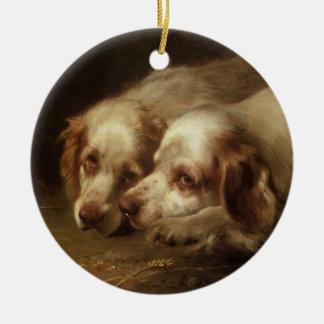 Vintage Animals, Cute Pet Spaniel Puppy Dogs Ceramic Ornament