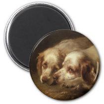 Vintage Animals, Cute Pet Spaniel Puppy Dogs Magnet