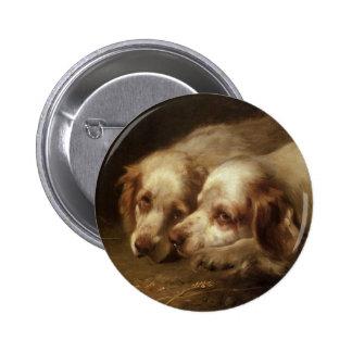Vintage Animals, Cute Pet Spaniel Puppy Dogs Pinback Button