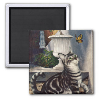 Vintage Animals, Cute Tabby Cat snd Butterfly 2 Inch Square Magnet
