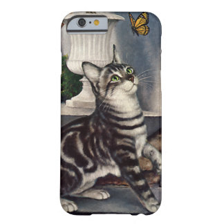 Vintage Animals, Cute Tabby Cat snd Butterfly Barely There iPhone 6 Case