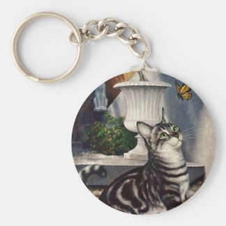 Vintage Animals, Cute Tabby Cat snd Butterfly Basic Round Button Keychain