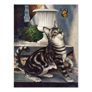 Vintage Animals, Cute Tabby Cat snd Butterfly Card