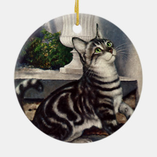 Vintage Animals, Cute Tabby Cat snd Butterfly Ceramic Ornament