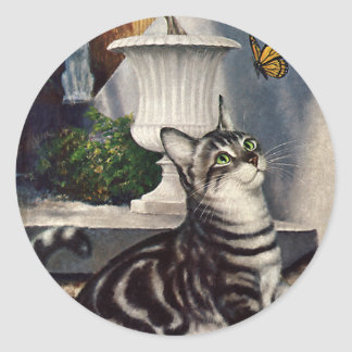 Vintage Animals, Cute Tabby Cat snd Butterfly Classic Round Sticker