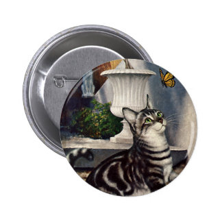 Vintage Animals, Cute Tabby Cat snd Butterfly Pinback Button