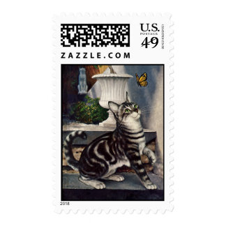 Vintage Animals, Cute Tabby Cat snd Butterfly Postage