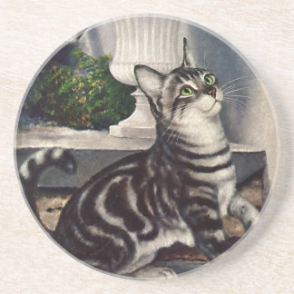 Vintage Animals, Cute Tabby Cat snd Butterfly Sandstone Coaster
