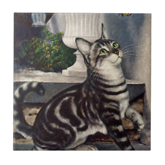 Vintage Animals, Cute Tabby Cat snd Butterfly Tile