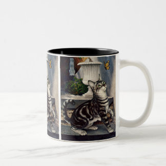 Vintage Animals, Cute Tabby Cat snd Butterfly Two-Tone Coffee Mug