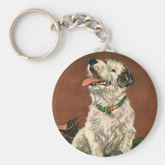 Vintage Animals, Cute Terrier Puppy Chewing Shoes Keychain
