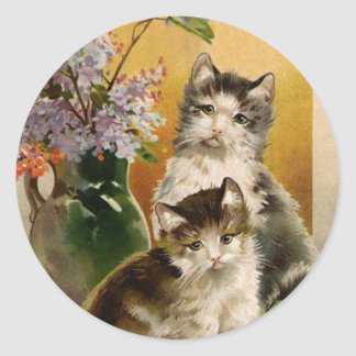 Vintage Animals, Cute Victorian Cats and Flowers Classic Round Sticker