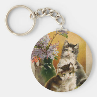 Vintage Animals, Cute Victorian Cats and Flowers Keychain