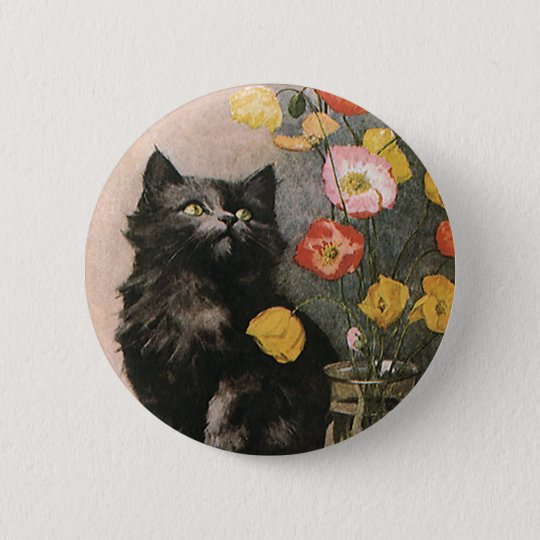 Vintage Animals, Cute Victorian Kitten and Flowers Button