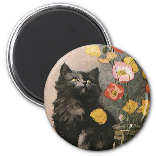 Vintage Animals Cute Victorian Kitten And Flowers Magnet