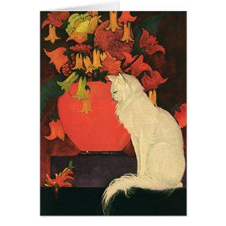 Vintage Animals, Elegant White Cat, Autumn Flowers Card