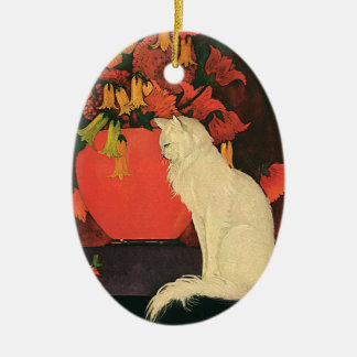 Vintage Animals, Elegant White Cat, Autumn Flowers Ceramic Ornament