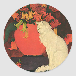 Vintage Animals, Elegant White Cat, Autumn Flowers Classic Round Sticker