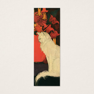 Vintage Animals, Elegant White Cat, Autumn Flowers Mini Business Card