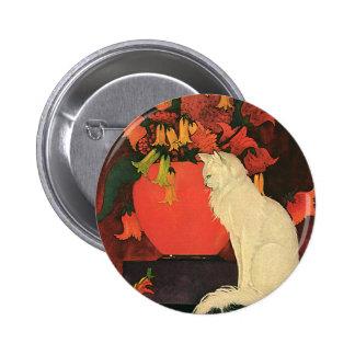 Vintage Animals, Elegant White Cat, Autumn Flowers Pinback Button