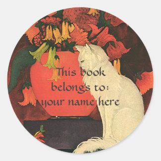 Vintage Animals, Elegant White Cat Bookplate Round Stickers