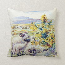vintage animals english countryside pillow cushion