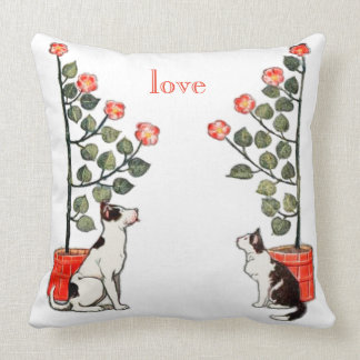 Vintage Animals Garden Dog and Cat with Roses Throw Pillow