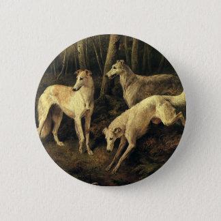Vintage Animals, Greyhound Dogs in the Forest Button