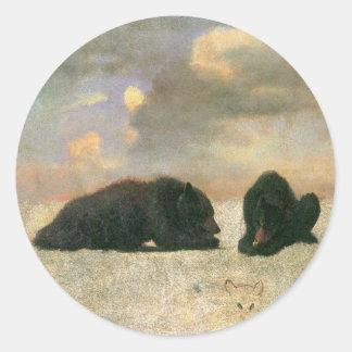 Vintage Animals, Grizzly Bears by Albert Bierstadt Classic Round Sticker