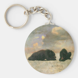 Vintage Animals, Grizzly Bears by Albert Bierstadt Keychain
