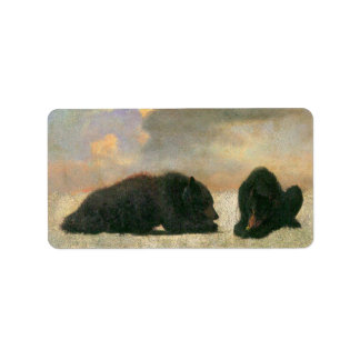 Vintage Animals, Grizzly Bears by Albert Bierstadt Label