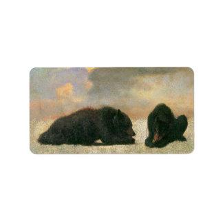 Vintage Animals, Grizzly Bears by Albert Bierstadt Address Label