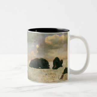 Vintage Animals, Grizzly Bears by Albert Bierstadt Two-Tone Coffee Mug