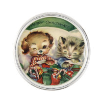 Vintage animals Holiday lapel pin