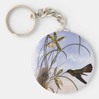 Vintage Animals, Hummingbird Bird Orchid Flowers Keychain