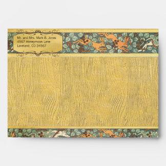 Vintage Animals Hunting Dogs Rabbits Wood Grain Envelope