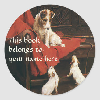 Vintage Animals Jack Russel Terrier Dogs Bookplate Classic Round Sticker