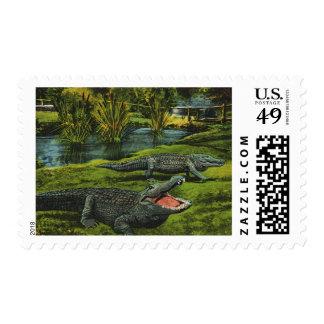 Vintage Animals, Marine Life Reptiles, Crocodiles Postage